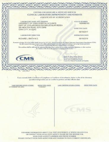 Certifications and Licensure | Molecular Otolaryngology and Renal ...