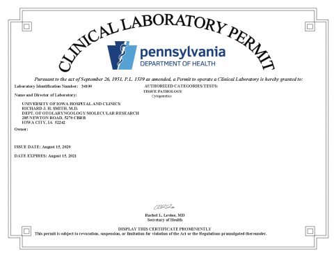 Image of Pennsylvania Clinical Laboratory Permit valid fro 8-15-2020 to 8-15-2021